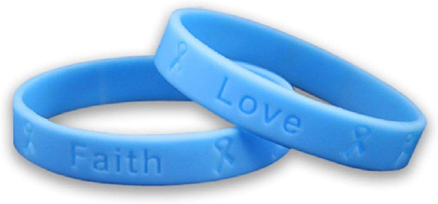 Prostate Cancer Awareness Light Blue Ribbon with Gray /& Blue Paracord Bracelet