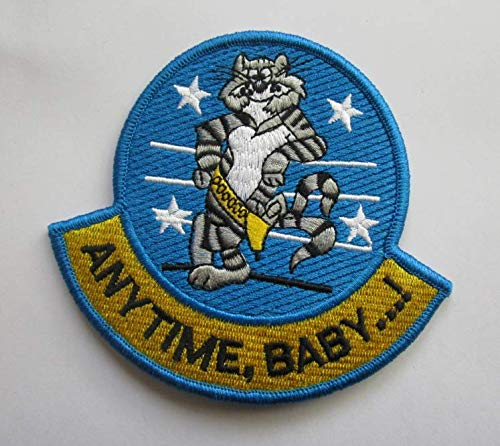 Anytime, Baby.! (F-14 Tomcat Fighter Aircraft Mint Military Patch Fabric Embroidered Badges Patch Tactical Stickers for Clothes with Hook & Loop