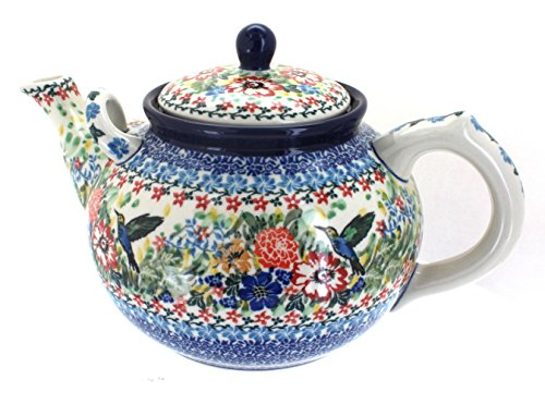 Polish Pottery Hummingbird Large Teapot