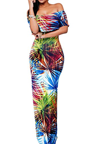 (Happy Sailed Flowers Off Shoulder Ruffle Party Homecoming Maxi Dress, Medium Tropical)