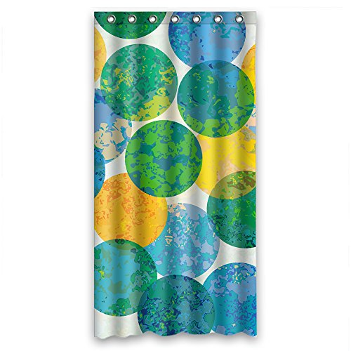 - PILZOO Bathroom Curtains Of Circle Polyester Width X Height / 36 X 72 Inches / W H 90 By 180 Cm Best Fit For Bf Couples Birthday Kids Boys. With Hooks. Fabric