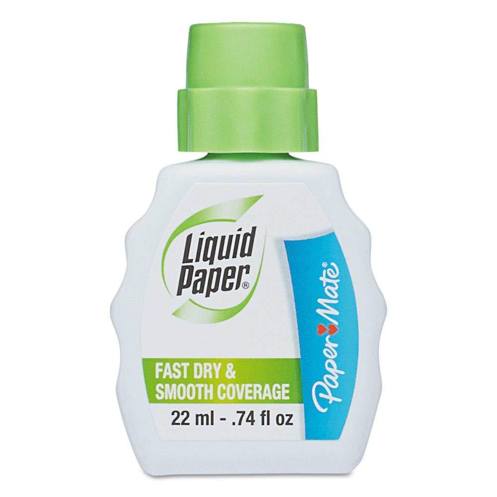 Liquid Paper Fast Dry Correction Fluid 22 ml Bottle White 1/Dozen