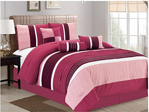 JBFF 7 Piece, Collection Bed in Bag Luxury Stripe Microfiber Comforter Set, Queen, (Pink Bed Bag)
