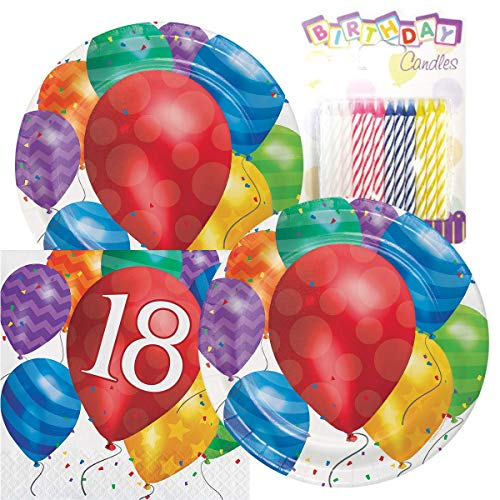 Balloon Blast Happy Birthday Themed Party Pack - Includes Paper Plates & Luncheon Napkins Plus 24 Birthday Candles - Servers 16 (18th -