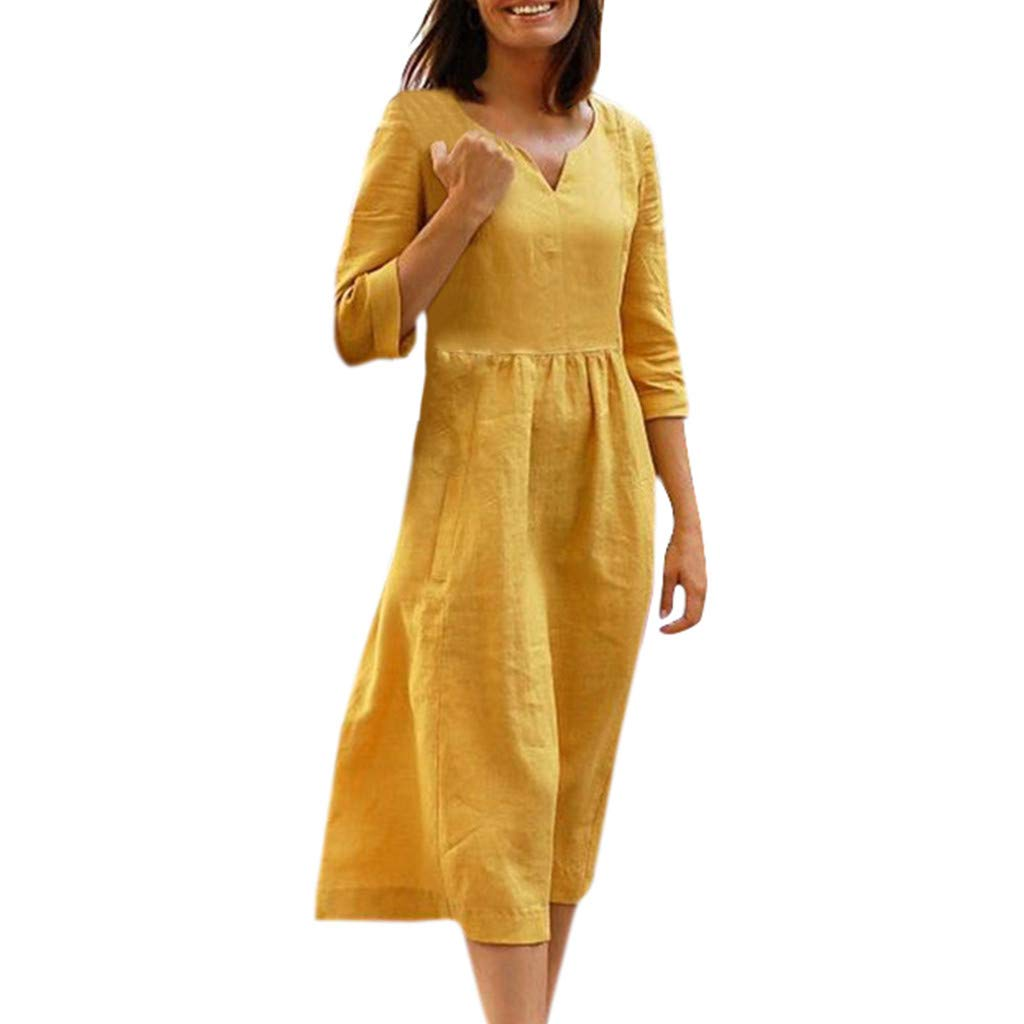 Euone Dress Clearance, Women Half Sleeves Solid Casual Vacation Dresses