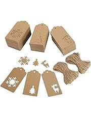 Tanersoned 300 Etiquetas de Regalo de Navidad, Etiquetas de Papel Kraft para Decoración de Navidad/Cumpleaños/Tarjeta/Álbumes/DIY Etiqueta, 50m cuerda de Yute (copo de nieve y árboles y ciervos)