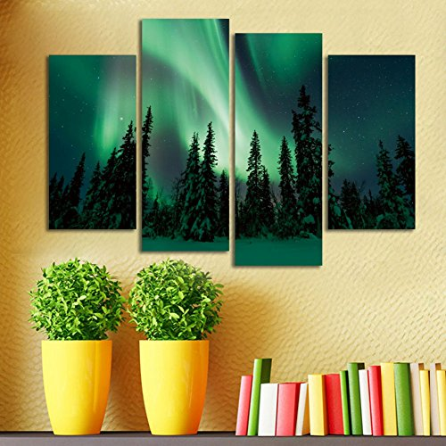 ShuaXin Northern Lights Above A Winter Snow Scene, 4 Panel Canvas Painting for Living Room Decor Wall Art Christmas Gifts Decorations (With DIY Wood Frame)