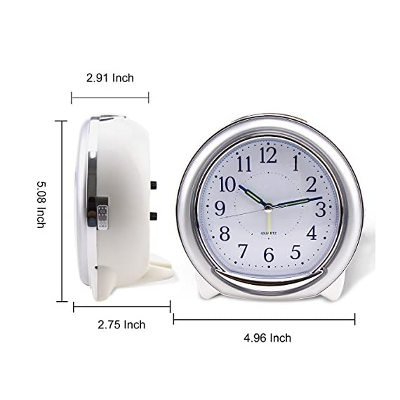 "BonyTek Desk Alarm Clock, Silent Quartz Alarm Clock with Loud Mechanical Bell Bird Song Melody Alarm, Nightlight, Snooze, Silent Sweep Seconds, Luminous Hands, Battery Powered (Sliver) - 1】.Silent -- Silent sweep seconds movement, quiet concise design alarm clock without annoying tick tock sound. 2】. 3 Types of Alarm Sounds -- 【Birdcall / 8 Pieces of Music / Mechanical Bell】Three types of alarm sounds played alternately. After starting the alarm, the first is the 3 times sweet birdsong, then melody and mechanical bell cycling played. 3】. Snooze -- The snooze allows the alarm to ring every five minutes, It will stop ringing until switched off or half an hour later. when you shut off the alarm, it says ""good morning!"". Built-in real mechanical bells, Loud sound for heavy sleepers, You will never sleep through our Alarm Clock! - clocks, bedroom-decor, bedroom - 513qtEUTDQL. SS570  -"