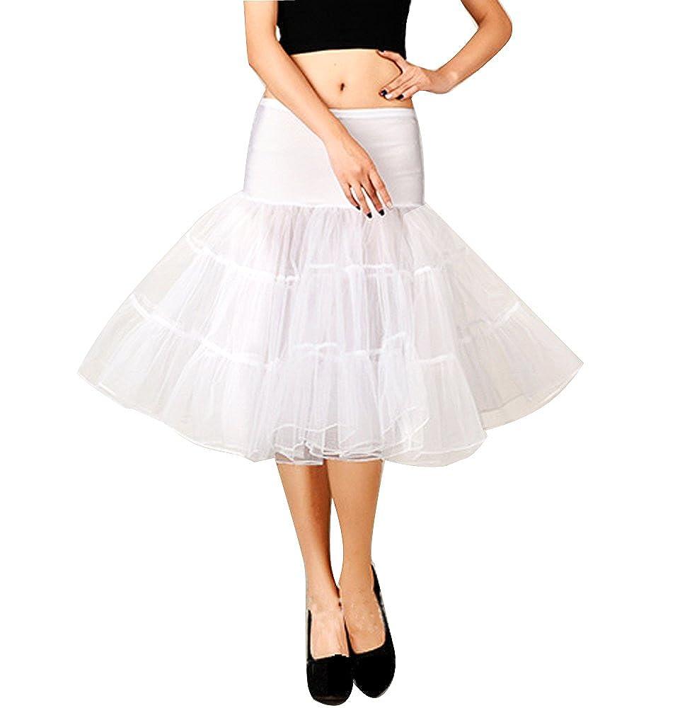 Women's 50s Retro Rockabilly Petticoat Knee-Length Crinoline Underskirts Slips Cocobla