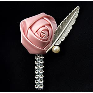 Abbie Home Rose Boutonniere with Pin for Prom Party Wedding- Pack of 2/4/6 (Pack of 6, Pink) 28