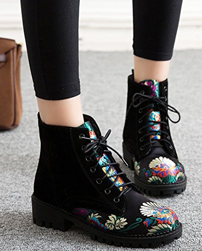 Fashion Up Flat Women's Boots Ankle Booties Aisun Lace Top Trainers Floral Black High 5qOnwSC