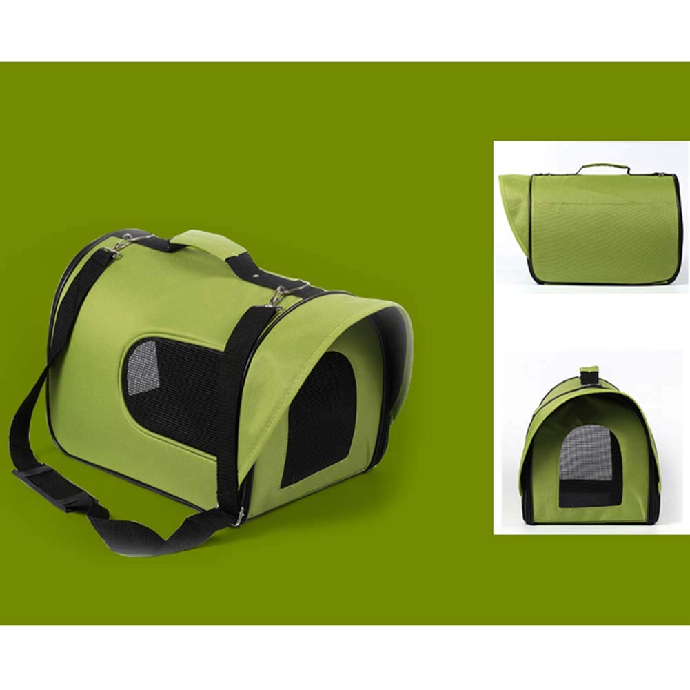 GREEN M GREEN M Cat Bag Out Portable Folding Portable Backpack Pet Bag Travel Bag Cat Cage (color   Green, Size   M)