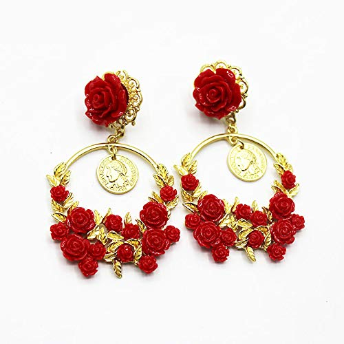 New Baroque Red Rose Flower Earrings Cocktail Party Wedding Crystal Earrings for Women Jewelry 401 ()