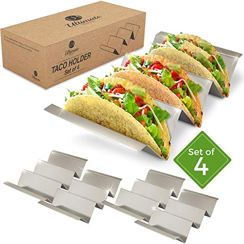 Taco Holder 4 Pack | Stainless Steel Taco Stand | With No Slip Side Handles | Metal Racks Holders for Taco Shell, Tortilla And More | Oven And Grill Safe ()