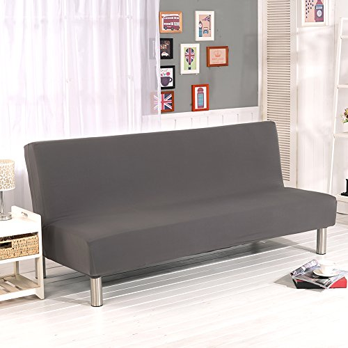 Aneil Sofa Bed Cover Futon Slipcover Solid Color Full Folding Elastic Armless 80 x 50 in (Gray) (Armless Sleeper)