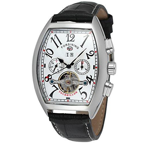 Forsining Men's Automatic Self-winding Tourbillon Calendar Brand Learher Strap Collectiton Watch FSG9409M3S4 (Tonneau Watch Automatic)