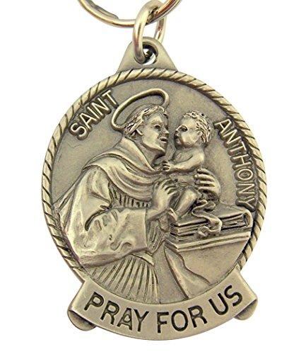 Pewter Catholic Saint St Anthony Medal Key Chain, 2 Inch Anthony Medal Ring
