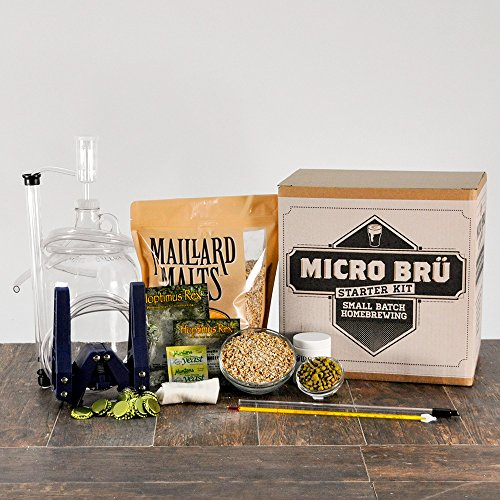Micro Bru All Grain Homebrew Beer Brewing Starter Kit With Hop Monster IPA Beer Recipe Kit - Equipment For Making 1 Gallon Of Homebrew Beer by Midwest Supplies