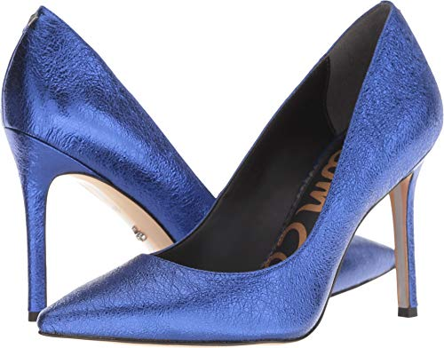 Crinkle Leather Heels - Sam Edelman Women's Hazel Royal Blue Soft Crinkle Metallic Leather 7 W US