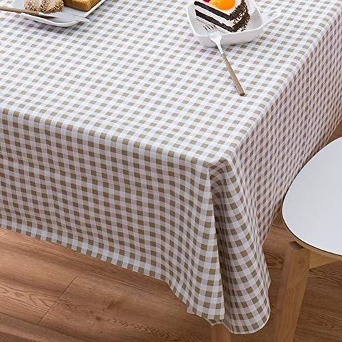 DW&HX 100% Waterproof PVC Tablecloths, Rectangle Plaid Spill-Proof Wipeable Vinyl Table Cover Indoor Outdoor Picnic Table Cloth -Small Gray Plaid (Best Dw Stains)