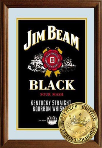 Jim Beam Black Label (Empire Merchandising 610874 Jim Beam Black Label-Mirror with Solid Wood Frame - 22 x 32 x 1.2 CM by Empire Interactive)