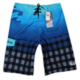 Blue Plaid Shorts for Swimming Surfing Mens Boardshorts 34''