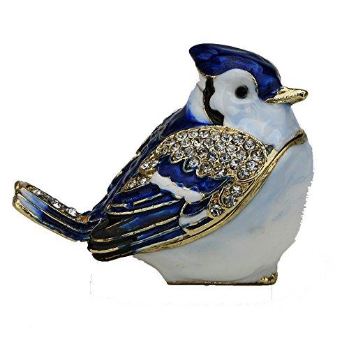 - Baby Blue Jay Figurine Box - Swarovski Crystals, Trinket, Keepsake, Jewelry Box