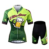 womens beer cycling jersey - Thriller Rider Sports Womens I Like Beer Outdoor Sports Mountain Bike Short Sleeve Cycling Jersey and Shorts Suit 2X-Large