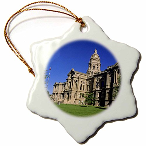 3dRose orn_97292_1 The Wyoming State Capitol Building in Cheyenne-US51 DFR0081-David R. Frazier-Snowflake Ornament, Porcelain, 3-Inch