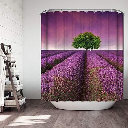 Ezlif Purple Shower Curtain Lavender Fields Panoramic Digital Print Tree Of Life Magical Heaven Violet