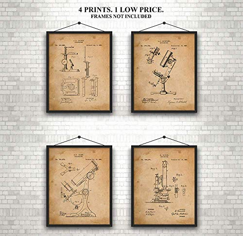 Microscope - Patent Prints -Art Wall Decor between 1880 and 1886 a great gift for anyone who really enjoys or collects vintage microscopes and art.