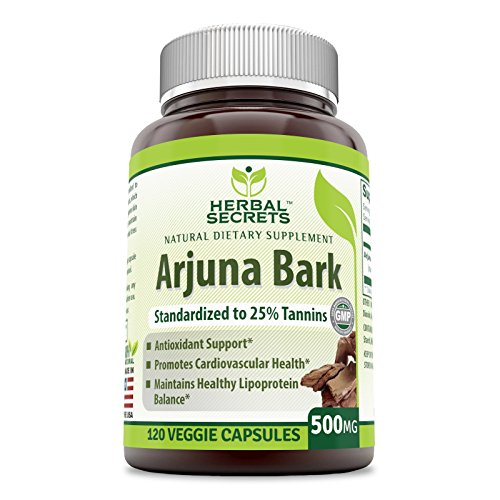 Herbal Secrets Arjuna Bark Standardized to 25 % Tannins 500 Mg 120 Veggie Capsules – Antioxidant Support* Promotes Cardiovascular Health* Maintains Healthy Lipoprotein Balance *