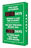 Accuform SCK119 Aluminum Digi-Day Electronic Scoreboard, Legend ''THIS PLANT HAS WORKED #### DAYS WITHOUT A LOST TIME ACCIDENT - THE BEST PREVIOUS'', 28'' Height x 20'' Width x 2'' Depth, White