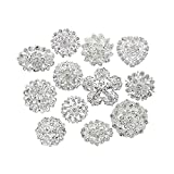 Danbihuabi Lot 12pcs Small Crystal Brooches Silver Plated