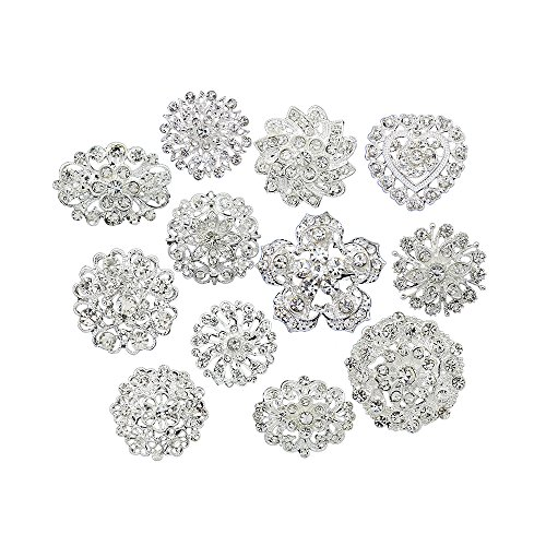 (Danbihuabi Lot 12pcs Small Crystal Brooches Silver Plated)
