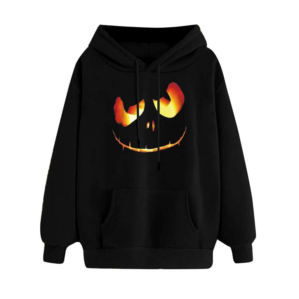 Jialili Womens Hoodie with Pockets Casual Scary Halloween Printed Long Sleeve Hooded Pullover Coat Top Blouse by Jialili