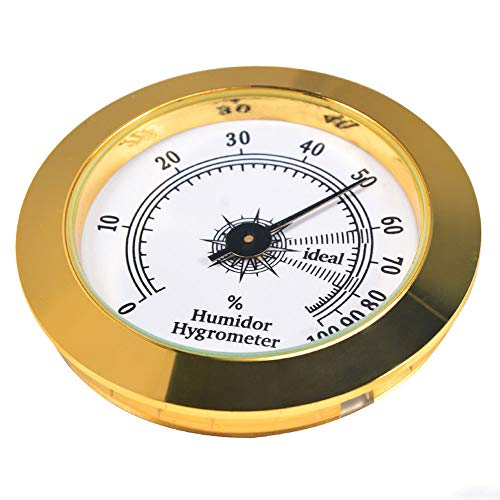 REMIGHTELY BRIGHT Cigar Hygrometer - Precision Round Glass Pointer Hygrometer for Metal Cigar Box/Cigar Cabinet, Diameter 2in and Gold (Best Hygrometer For Humidor)