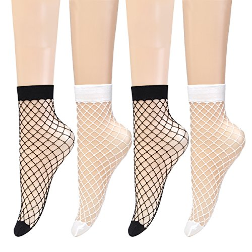 Epeius 4 Pairs Women's Lace Fishnet Ankle Socks,Stylish Black/White + Hollow Out,Shoe Size 5-8.5 (White Fishnets)