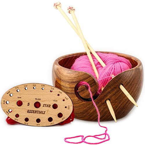 T-rex Sand Naturals (Yarn Bowl - Premium and Portable Handmade Wooden Knitting and crochet Bowl for Yarn Storage - Best Gifts for Women (6x3.5 with FREE knitting gauge))
