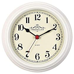EMIROOM 8.6 Inch Retro Classic Metal Wall Clock, Silent Non Ticking Round Wall Clock Decorative, Battery Operated Quality Quartz for Living Room, Bedroom, Kitchen, School and Office(Off-White Numeral)