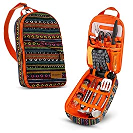 Camp Kitchen Cooking Utensil Set Travel Organizer Grill Accessories Portable Compact Gear for Backpacking BBQ Camping…