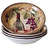 Certified International Gilded Wine Soup/Pasta Bowls (Set of 4), 9.25'' x 1.5'', Multicolor