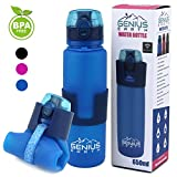 Genius Earth Foldable Water Bottle – Collapsible, Portable, Silicone Drink Bottle for Hiking, Sports & Travel. Lightweight, Reusable Bottles for Men, Women and Kids. BPA Free. 22oz