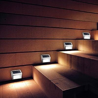 CviAn - Luz LED brillante para escaleras, funciona con energía solar, resistente al agua, inalámbrica, luces de pared, luces solares: Amazon.es: Iluminación