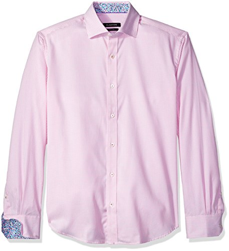 BUGATCHI Men's Cotton Shaped Fit Spread Collar Woven, Pink, X-Large by Bugatchi