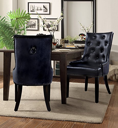 Chic Home James PU Leather Modern Contemporary Button Tufted Swoop Arm with Silver Nailhead Trim Tapered Solid Birch Legs Dining Chair, Black(Set Of 2)