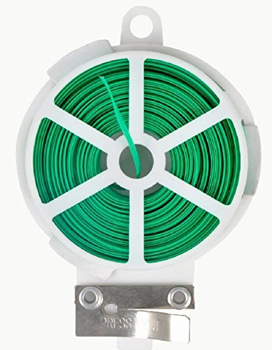 Gardtech 65ft (20m) Green Plastic Twist Tie Roll with Cutter Garden Twist Tie Dispenser (Dispenser Twist Tie)