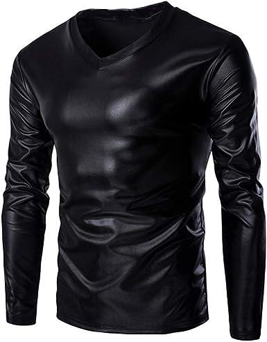 MEIbax Camisetas para Hombre Traje Brillante Dorado Delgado Manga Larga de Cuello Alto con Cuello en V con Apariencia mojada y Aspecto metálico Brillante Deportes Blusa Camiseta Tops Ropa: Amazon.es: Ropa y
