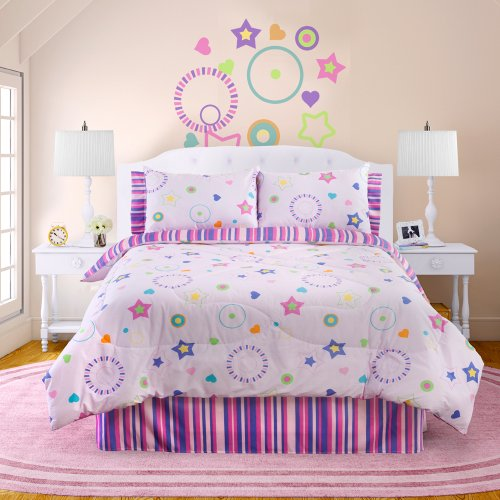 Veratex The Star Dance Bedding Collection 100% Polyester Girls 4-Piece Glow in The Dark Comforter Set, Full Size, Pink Multi