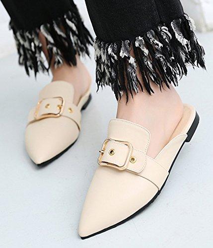 Comfy Closed Mules Sandals Slide Toe Womens Shoes Beige On New Dress Slip Aisun Strap Buckle XqF5Rqfw